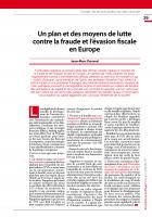 Un plan et des moyens de lutte contre la fraude et l'évasion fiscale en Europe