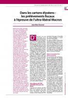 Dans les cartons élyséens : les prélèvements fiscaux  à l'épreuve de l'ultra-libéral Macron