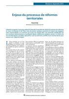 Enjeux du processus de réformes territoriales