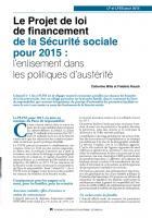 Le Projet de loi de financement de la Sécurité sociale pour 2015: l'enlisement dans les politiques d'austérité