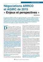 Négociations ARRCO et AGIRC de 2015 « Enjeux et perspectives »