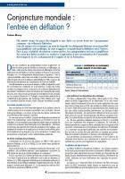 Conjoncture mondiale : l'entrée en déflation ?