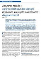 Assurance maladie : ouvrir le débat pour des solutions alternatives aux projets réactionnaires du gouvernement