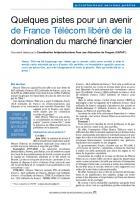 Quelques pistes pour un avenir de France Télécom libéré de la domination du marché financier