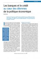 Les banques et le crédit au cœur des dilemmes de la politique économique