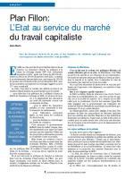 Plan Fillon : L'Etat au service du marché du travail capitaliste