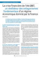 La crise financière de l'été 2007, un révélateur des antagonismes fondamentaux d'un régime économique dominé par la finance