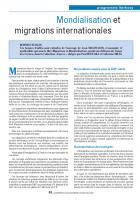 Mondialisation et migrations internationales