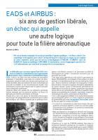 EADS et AIRBUS : six ans de gestion libérale, un échec qui appelle une autre logique pour toute la filière aéronautique