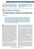 Deux tabous à lever : Financement, Union européenne