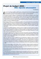 Projet  de budget 2008  : Une riposte nécessaire