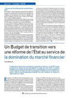 Un Budget de transition vers une réforme de l'État au service de la domination du marché financier