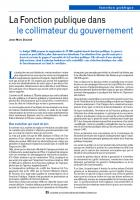 La Fonction publique dans le collimateur du gouvernement
