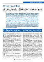 Crise du dollar et besoin de révolution monétaire