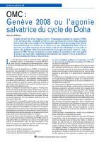 OMC : Genève 2008 oul'agonie salvatrice du cycle de Doha