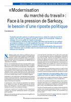 «Modernisation du marché du travail» : Face à la pression de Sarkozy, le besoin d'une riposte politique