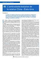III. L'ambivalente évolution de la relation Chine - États-Unis