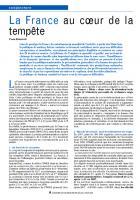 Conjoncture : La France au cœur de la tempête