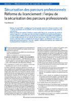 Sécurisation des parcours professionnels Réforme du licenciement : l'enjeu de la sécurisation des parcours professionnels