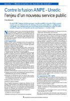 Contre la fusion ANPE Unedic l'enjeu d'un nouveau service public