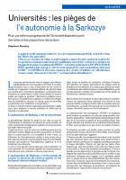 Universités : les pièges de l'« autonomie à la Sarkozy»