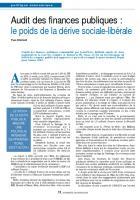 Audit des finances publiques : le poids de la dérive sociale-libérale