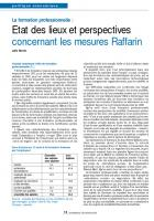 La formation professionnelle : Etat des lieux et perspectives concernant les mesures Raffarin