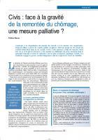 Civis : face à la gravité de la remontée du chômage, une mesure palliative ?