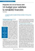 Préparation de la loi de Finances 2003 : Un budget pour satisfaire la rentabilité financière