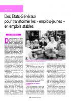 Des Etats-Généraux  pour transformer les « emplois-jeunes » en emplois stables