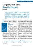 L'urgence d'un bilan des privatisations
