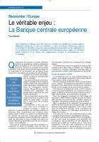 Réorienter l'Europe. Le véritable enjeu : La Banque centrale européenne