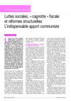 Luttes sociales, « cagnotte » fiscale et réformes structurelles L'indispensable apport  communiste
