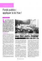 Fonds publics : appliquer la loi Hue !