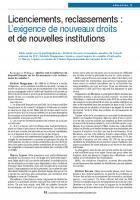 Licenciements, reclassements : L'exigence de nouveaux droits et de nouvelles institutions