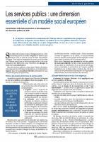 Les services publics : une dimension essentielle d'un modèle social européen