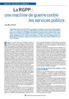 La RGPP :  une machine de guerre contre  les services publics