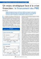 Un enjeu stratégique face à la crise financière : le financement des PME