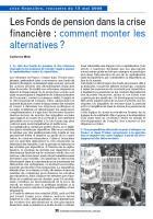 Les Fonds de pension dans la crise financière : comment monter les alternatives ?