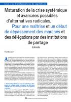 Maturation de la crise systémique et avancées possibles d'alternatives radicales.