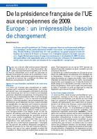 De la présidence française de l'UE aux européennes de 2009. Europe : un irrépressible besoin de changement