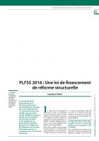 PLFSS 2016 : Une loi de financement de réforme structurelle