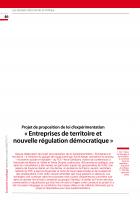 Projet de proposition de loi d'expérimentation « Entreprises de territoire et nouvelle régulation démocratique »