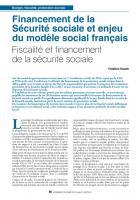 Financement de la Sécurité sociale et enjeu du modèle social français