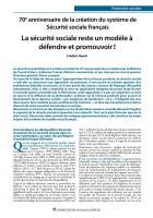 70e anniversaire de la création du système de Sécurité sociale français - La sécurité sociale reste un modèle à défendre et promouvoir !