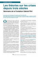 Les théories sur les crises depuis trois siècles (Séminaire de la Fondation Gabriel Péri - 1ère séance)