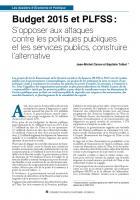 Budget 2015 et PLFSS : S'opposer aux attaques contre les politiques publiques et les services publics, construire l'alternative