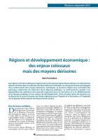 Régions et développement économique : des enjeux colossaux  mais des moyens dérisoires