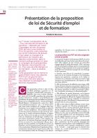 Présentation de la proposition de loi de Sécurité d'emploi et de formation