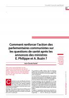 Comment renforcer l'action des parlementaires communistes sur les questions de santé après les annonces des ministres  E. Philippe et A. Buzin ?